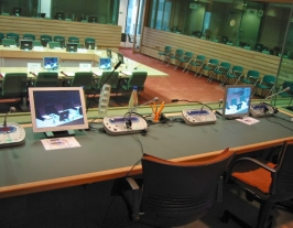 Interpreter booths in a conference room