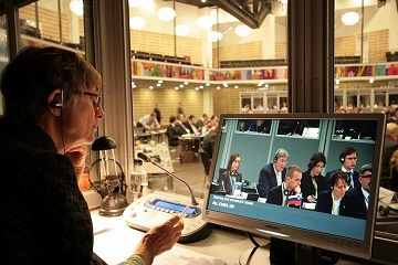Standardized booths, like this one at the 47th COSAC meetings in Copenhagen, can help conference interpreters optimize their performance.