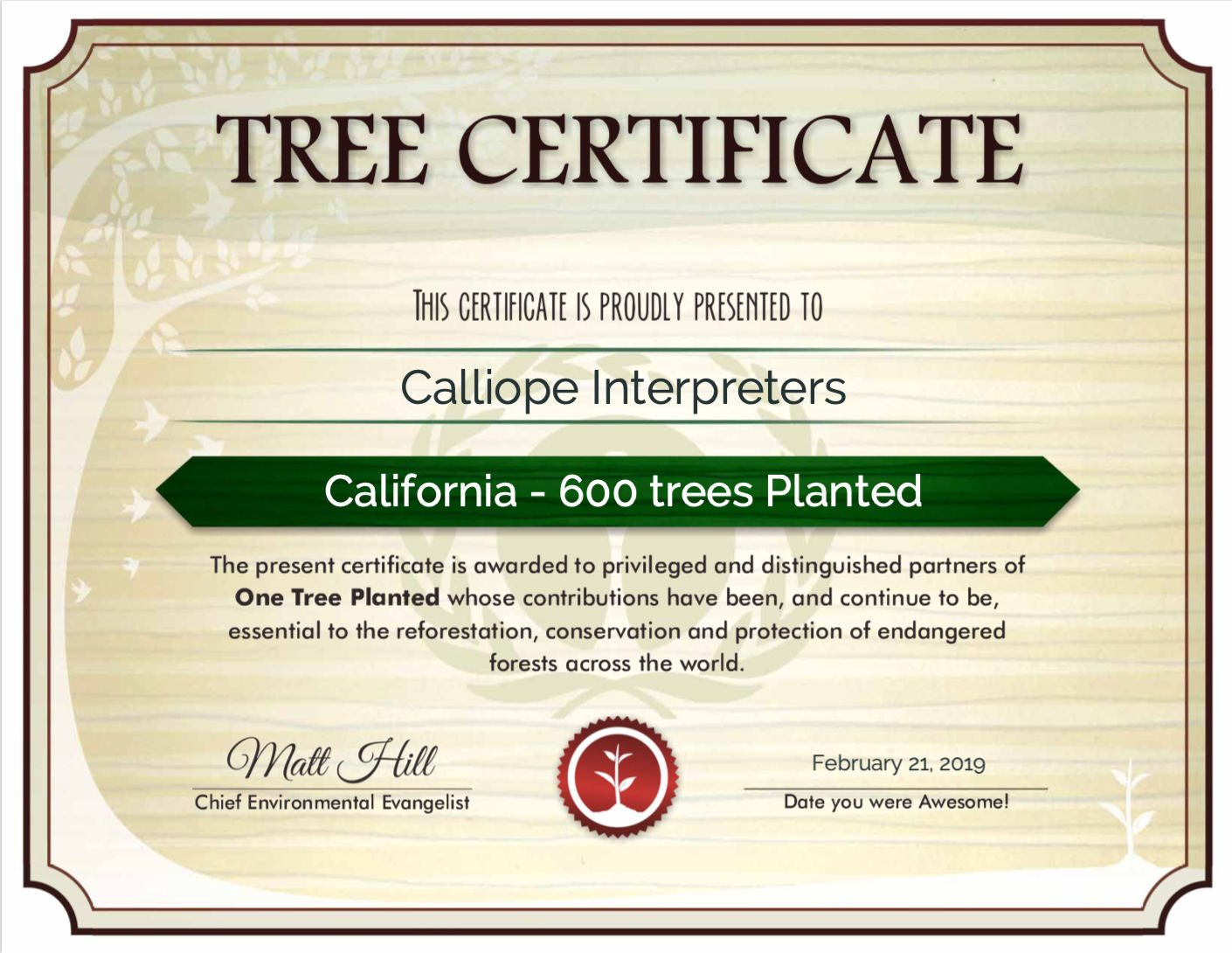 Certificate of offset for carbon emissions